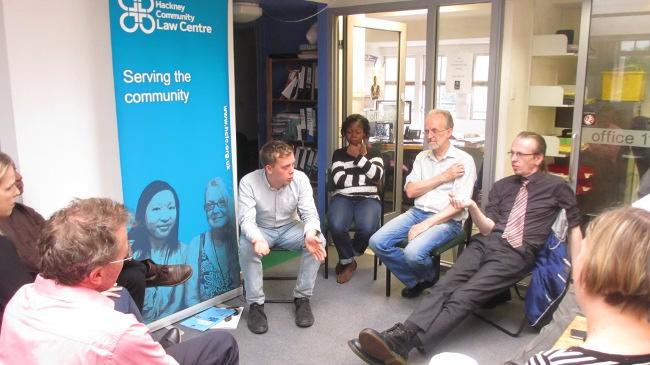Owen in conversation with HCLC staff
